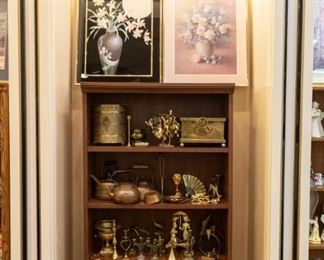 Lots of nice brass - there is a square planter on the top right - that is especially nice.  There are also come copper pieces on this shelf.