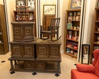 This 4 table set also has a matching bookshelf.  And this is the sale for children's rockers or chairs - we have 4!