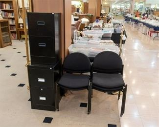 We have 5 Versa stack-able chairs, and two filing cabinets.