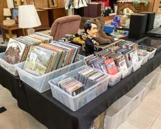 CD's, DVD's, and records.