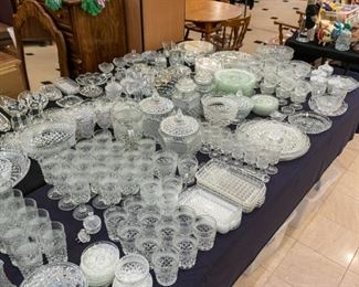 LOTS of glassware!  Most of this table is the the same pattern.