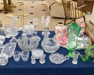 The green and clear vase on the right is a Lappas.