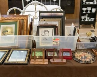 Picture frames, pictures, easels, etc.
