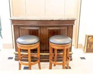 NICE - in excellent condition - like new - Island and two stools.  The back of the island is just as nice as the front!  Lots of storage!