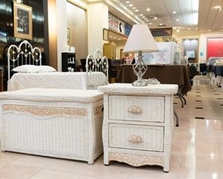 Wicker trunk and nightstand