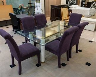 NICE glass dining table and 6 chairs.