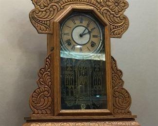 E Ingraham gingerbread mantle clock - very nice running!