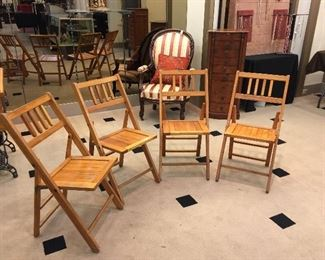 Vintage set wooden folding chairs.