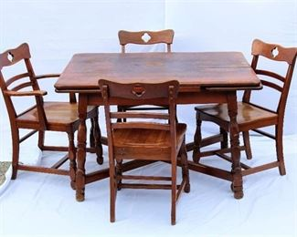Consider H. Willett Table and 4 Chairs - Black Walnut