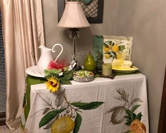 Beautiful linens, here is an example of a large tablecloth with oversized fruit.