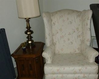 Wingback chair & end table in great condition