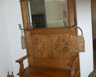Wonderful old hall tree w/seat storage & mirror