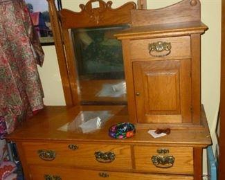 Unusual vintage dresser w/mirror and cabinet