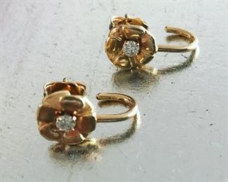 14k and .17carat diamond posts - floral $300