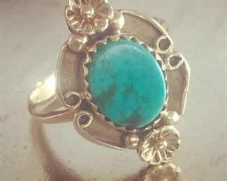 Victorian  Turquoise 14K ring floral setting, charming.  $300.00 Sweet European made Victorian cluster turquoise ring believed to be circa 1855-1875's. A very beautiful ring with 14K yellow gold and turquoise. This piece is so sweet.  $350