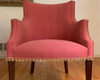 Sloped Arm Accent Chairs, PAIR