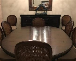 """Jonathan Charles 54"""" French Country (Extending) Dark Oak Dining Table (seats 8)."""