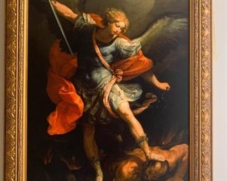 """Framed""""Archangel St. Michael Defeating Satan"""" 1900 by William Adolphe Bouguereau."""