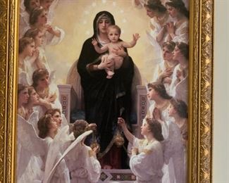 """Beautiful Framed """"The Virgin with Angels,"""" 1900 by William Adolphe Bouguereau!"""