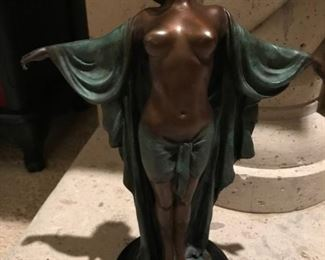 Art Deco Bronze Semiramis Dancer Figurine Statue Female Nude. 1920. by The piece is signed Czheng on the base of the sculpture.