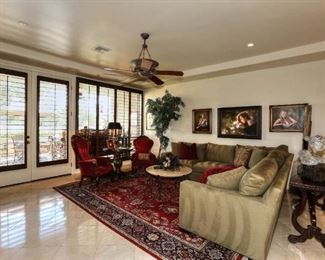 Pottery Barn Sectional & 1920s Antique Granite Coffee Table & Fig Tree & 8' x 10' Oriental Rug (Kazak) & 2 Vintage Hand Carved Queen Anne Chairs.