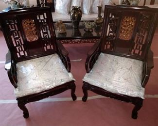 """Pair of Carved Chairs 27"""" D x 25.5"""" W"""