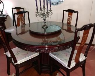 48 in.  Diameter Rosewood Dining Table w 6 Chairs