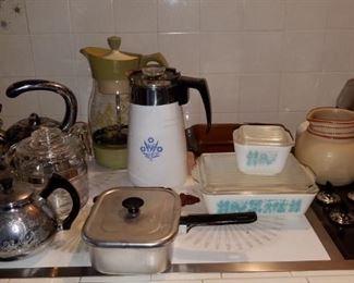 "•Vintage kitchen: Pyrex, corning ware, Misc Franciscan ""Starburst"" pieces, milk glass, 1950s and 1960s appliances."