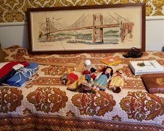 •70s Hippie bedspreads , mid-century art, vintage dolls