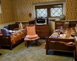 50s mid-century bedroom set with a country flair, rocker, globe, books