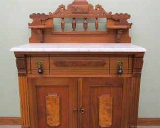 Victorian Walnut Marble Top Commode