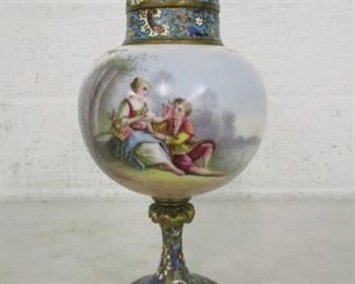 Serves Type & Champleve Pictorial Urn