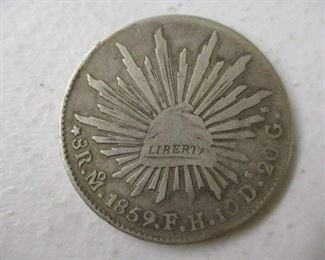 1859 Mexico Cap & Ray 8 Reales Silver Coins