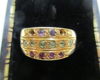 14K Yellow Gold Multi-Stone Ring - Size 8
