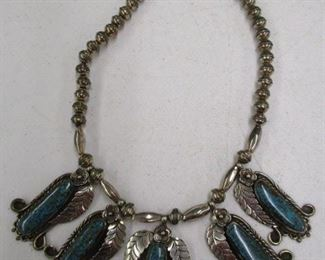 Southwest Silver & Turquoise Squash Blossom Necklace
