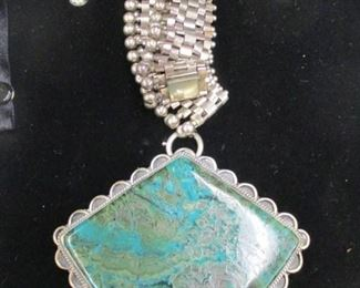 "Large Sterling Silver & Turquoise Pendant/Brooch w/18"" Necklace"
