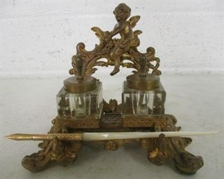 Victorian Double Inkwell w/Cherub & Mother of Pearl Handled Quill Pen