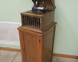 Oak Edison Amerbola Cylinder Record Player w/the Record Cabinet (No Crank)
