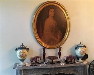 Purple glass,  portrait, jars, candlesticks, stemware