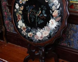 Victorian tinsel foil hand painted flip top table