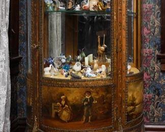 19th century louis xvi style  round glass display cabinet