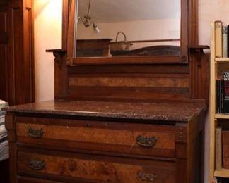 Victorian  Eastlake marble top mirror dresser