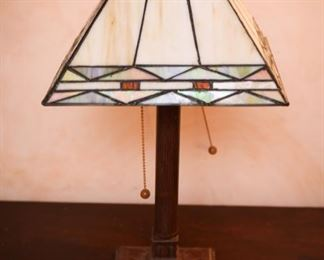 antique stained glass lamp table