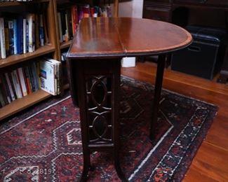 edwardian mahogany inlaid drop leaf sutherland table