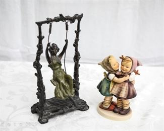 Art Deco swing girl sculpture signed and 1948 Hummel