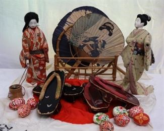 Wooden head Japanese dolls, fans, and Geta Sandals