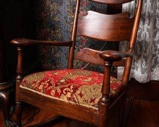 Victorian maple wood rocking chair