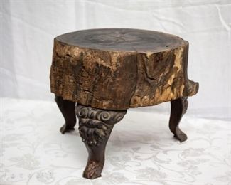 Antique Wood Stump Stand with Cast Iron legs