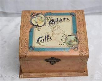 Antique Victorian Collar/Cuffs Box-Celluloid Top
