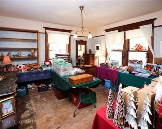 Large collection of toys, Doll House and Christmas ornaments